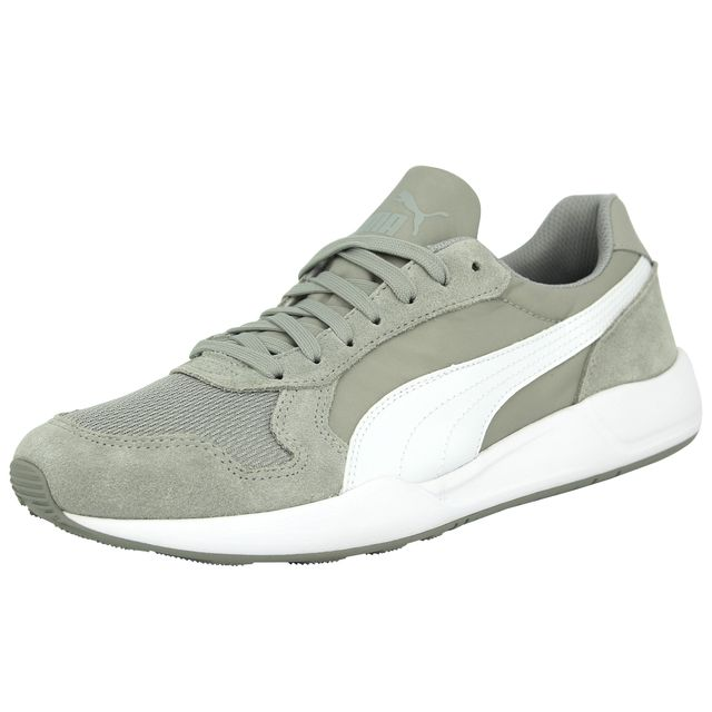998feabdb22578 Puma - Runner Plus Limestone Chaussures Mode Sneakers Homme Cuir Suede Gris  Blanc - pas cher Achat / Vente Baskets homme - RueDuCommerce