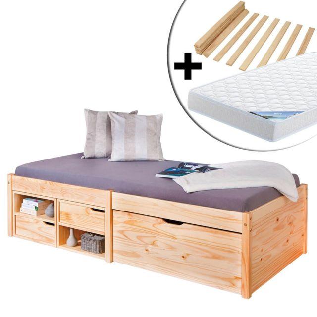 Altobuy Forel - Pack Lit Multi-Rangement 90x200 Naturel + Matelas Ibiza