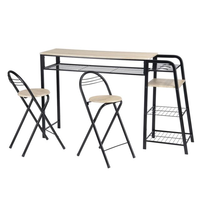 Hanovre Ensemble Table Et Tabourets Haute X 0cm Altobuy Noir TluJK5c3F1