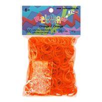 Rainbow Loom - Elastiques Original Orange - 600 Elastiques + 24 Fermoirs