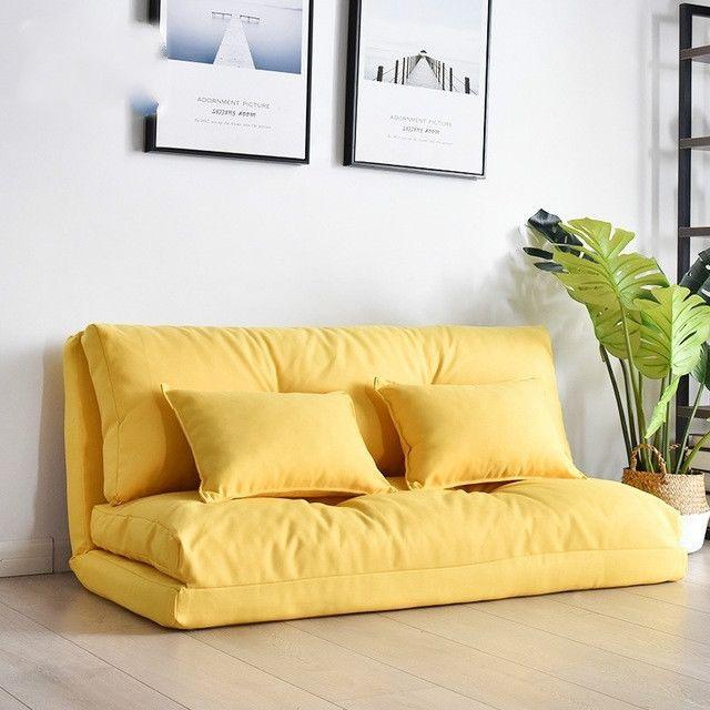 Wewoo Fauteuil Petit canapé-lit double multifonctionnel pliant 120cm jaune vif