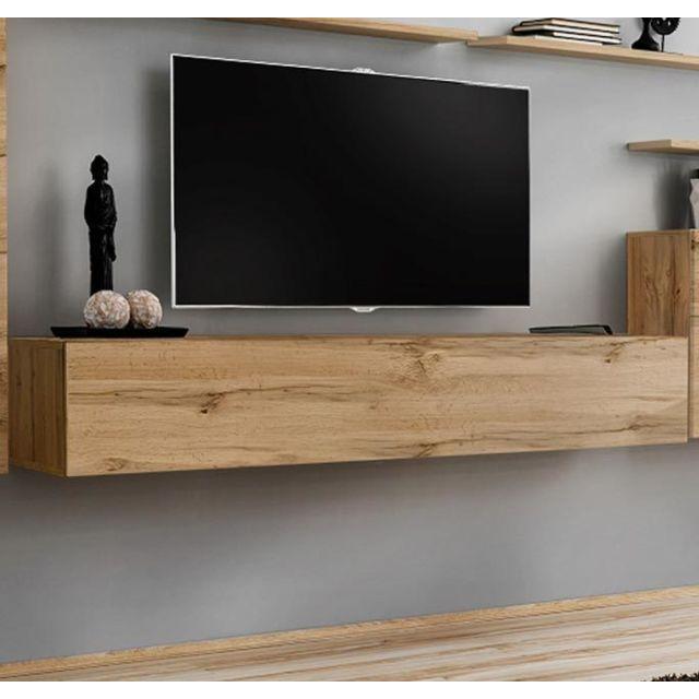 Design Ameublement Meuble Tv modèle Berit 180x30 couleur chêne