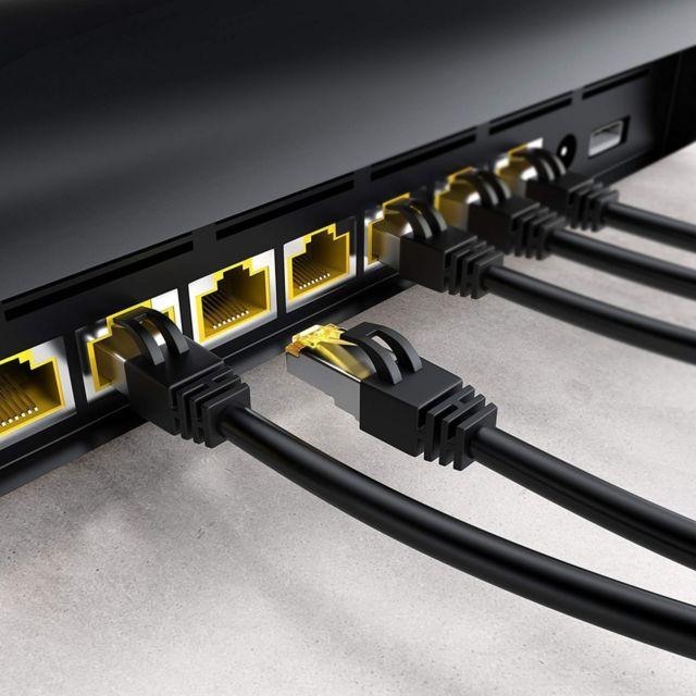 Gigabit LAN R/éseau 10Gbps 1m Ethernet C/âble CAT 7 Noir PC // Switch // Router // Modem // TV Box // Bo/îtiers ADSL // Consoles de Jeux Vid/éo 2x fiches RJ45 S//FTP Blindage