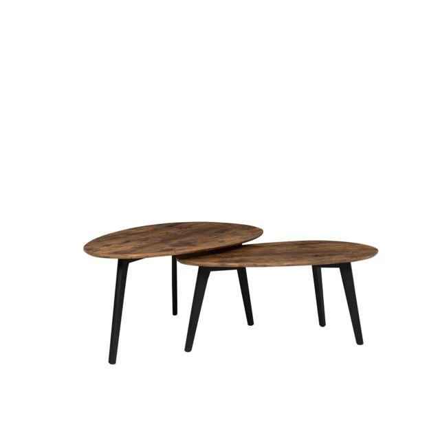 BELIANI Lot de 2 tables basses marron FLY II - marron