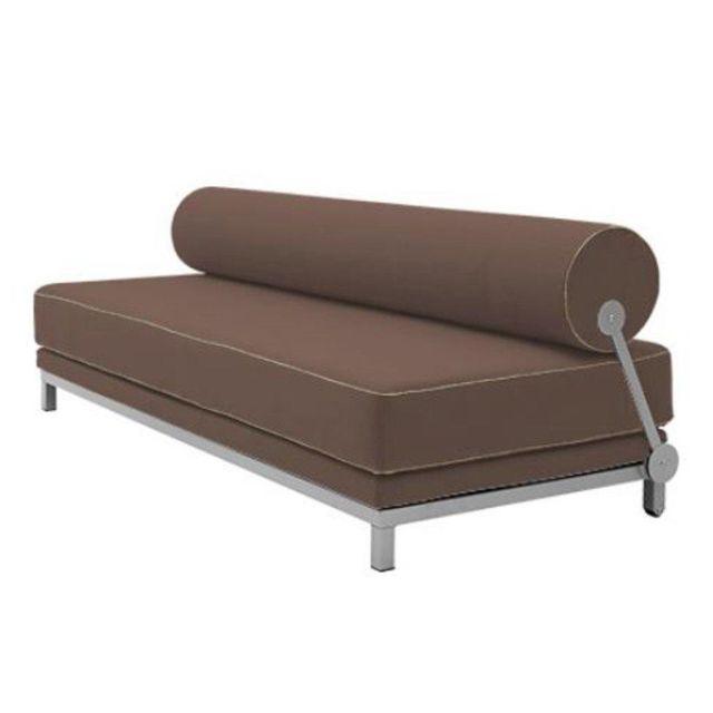 Inside 75 Canapé lit convertible design Sleep en tissu laine châtaigne structure aluminium Softline