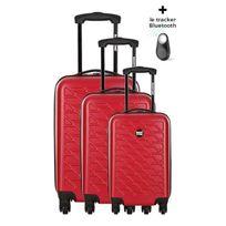 Bag Stone - Bagstone Set de 3 Valises Rigide Abs 4 Roues 50-60-70 cm Eden Rouge avec un tracker Bluetooth Offert