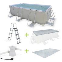 Alice'S Garden - Kit grande piscine tubulaire Topaze 8m² grise, piscine rectangulaire 4x2m avec pompe de filtration, bâche de protection, tapis de sol et échelle, piscine hors sol armature acier