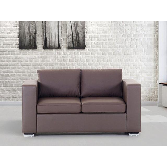 Beliani Canapé 2 places - canapé en cuir brun - sofa Helsinki