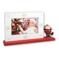Zep - Cadre Photo Blanc/Rouge Décoration Pere Noel avec Socle pour photo 10 x 15 cm
