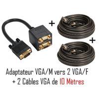 Cabling - Cordon 1x Vga/M 2x Vga/F + 2 câbles Vga M/M 10 mètres