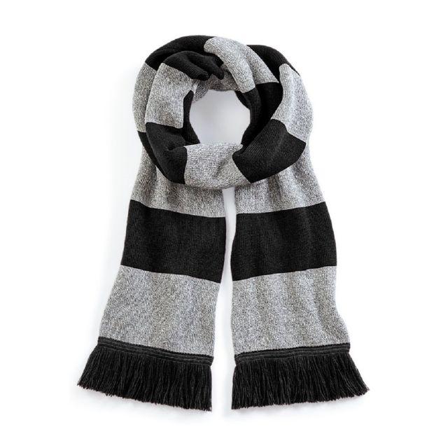 74fb4e1a69a Beechfield - Longue écharpe rayée - B479 - noir et gris - pas cher ...