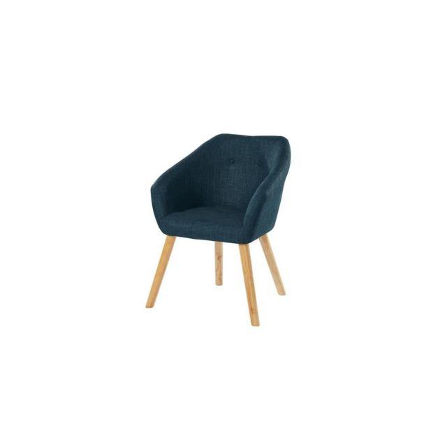 Sans Marque Hilda Fauteuil - Tissu Bleu Canard - Scandinave - L 62 X P 60 Cm