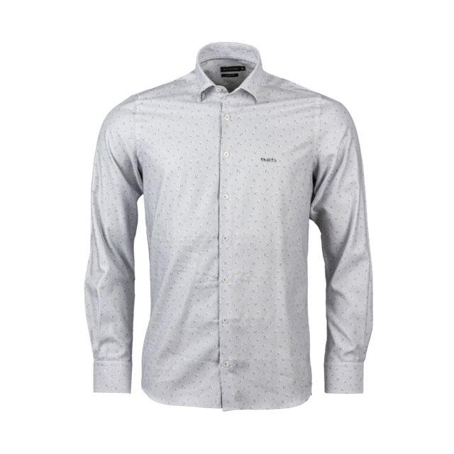 Miseaugreen Chemise ajsutée Mise au green en coton blanc à micro motifs gris et motifs bleu marine