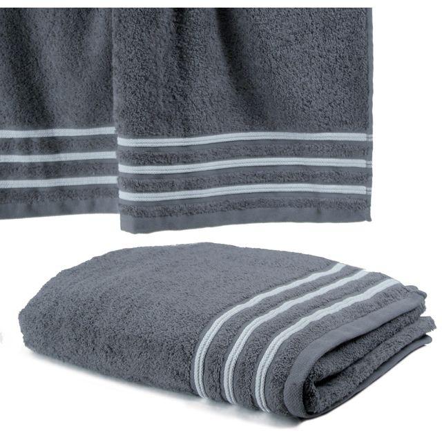 le linge de jules serviette de toilette 50x100 cm 100 coton 550 grs m2 gris avec liserets. Black Bedroom Furniture Sets. Home Design Ideas