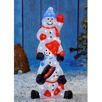 No Name - Ensemble de 3 bonhommes de neige - Lumineux acrylique coloré - 100 Led blanches - Intérieur et extérieur