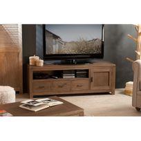 axe design - meuble tv design 3 tiroirs 3 niches avec leds en bois ... - Axe Design Meuble