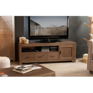 marque generique meuble tv bas en bois avec porte niche et tiroirs l140cm elia marron pas. Black Bedroom Furniture Sets. Home Design Ideas
