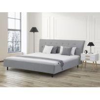 Beliani - Lit en tissu - lit double 180x200 cm - sommier inclus - Saverne - gris clair