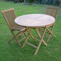 Salon de jardin en teck Ecograde Daru, table pliante ronde D. 90 cm + 2  chaises Java