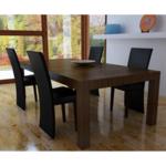 Vidaxl Chaise design bois noir lot de 4, similicuir