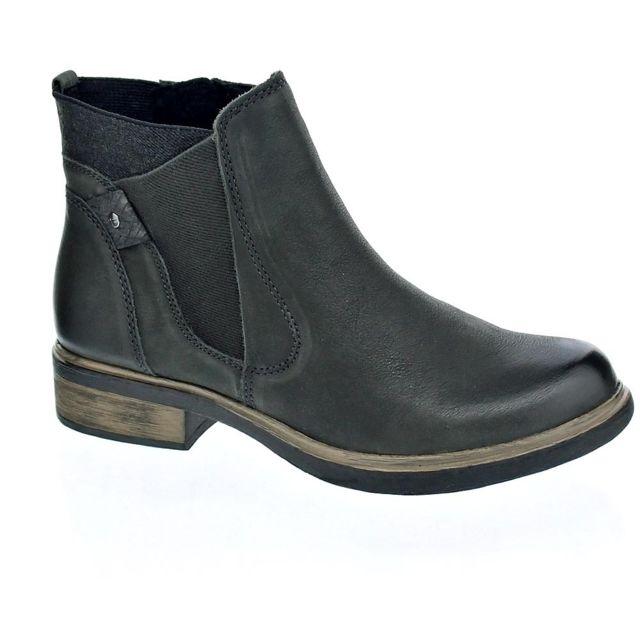 Vente Femme Tamaris Noir Noir Bottines Boots Boots Cuir