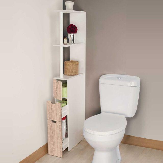 IDMARKET - Meuble wc étagère bois 3 portes coloris hêtre pour ...