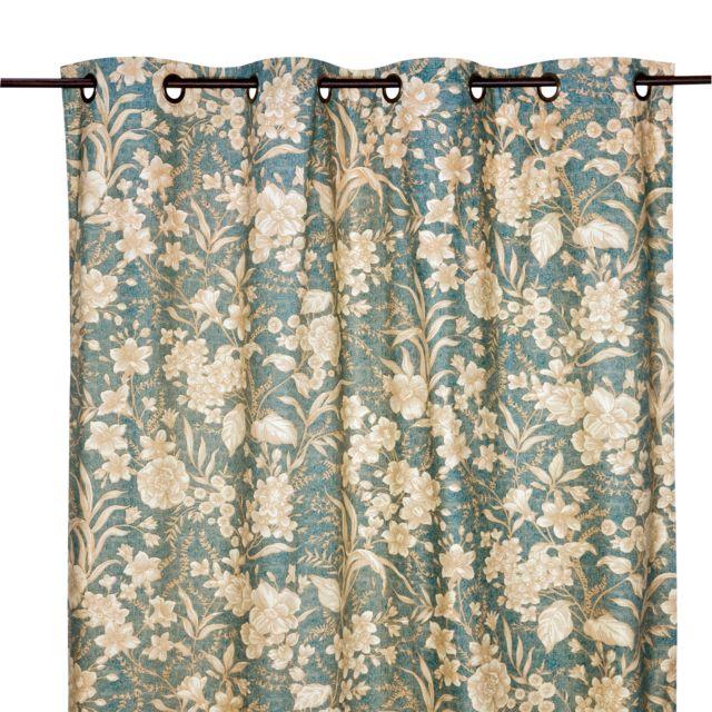 Comptoir de famille - Rideau 100% percale de coton motif fleur ...