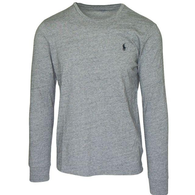 df07eb462d021 Ralph Lauren - T-shirt gris manches longues - pas cher Achat   Vente ...