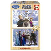 Educa - Puzzle 2 x 50 pièces en bois : La Reine des Neiges Frozen