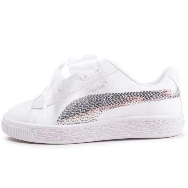 Basket Heart Bling Blanche Enfant