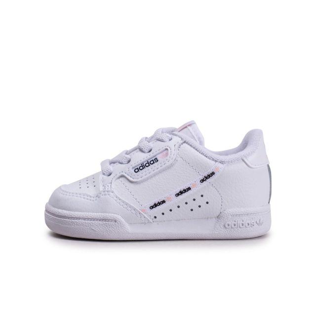 Adidas Continental 80 Blanche Et Rose Bébé pas cher