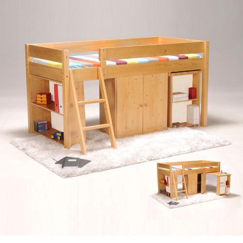 Lit combiné TINO 90x190 + 1 sommier + bureau + armoirette + étagère / Miel Vernis