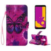 f6e53a3355 Wewoo - Housse en Cuir Violet Motif Papillon pour Galaxy J6 2018 avec Porte  Slots &