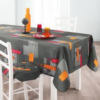 31496015b6b212 Douceur D INTERIEUR - Cdaffaires Nappe rectangle 150 x 240 cm polyester  imprime jaya Anthracite