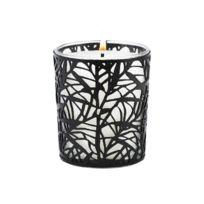Ebougie - Bougie parfumée Figue de Provence 190 gr verre transparent avec parure couture feuillage noir
