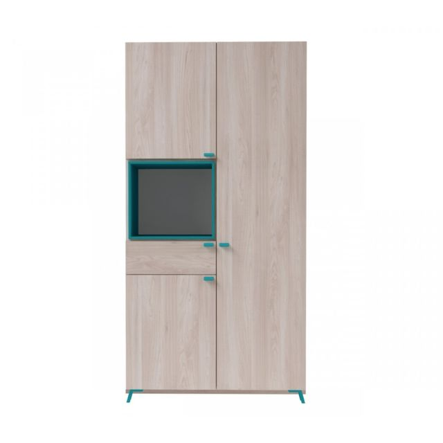 terre de nuit armoire 3 portes 1 tiroir imitation bois clair et bleu ar4007 sebpeche31. Black Bedroom Furniture Sets. Home Design Ideas