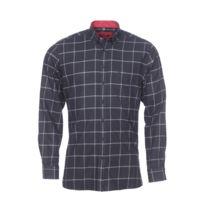 Chemise droite en coton noir à carreaux gris anthracite et blancs à opposition rouge foncé