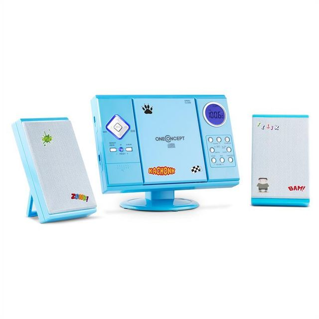 ONECONCEPT V-12 Chaine stéréo CD MP3 USB SD avec stickers - bleu
