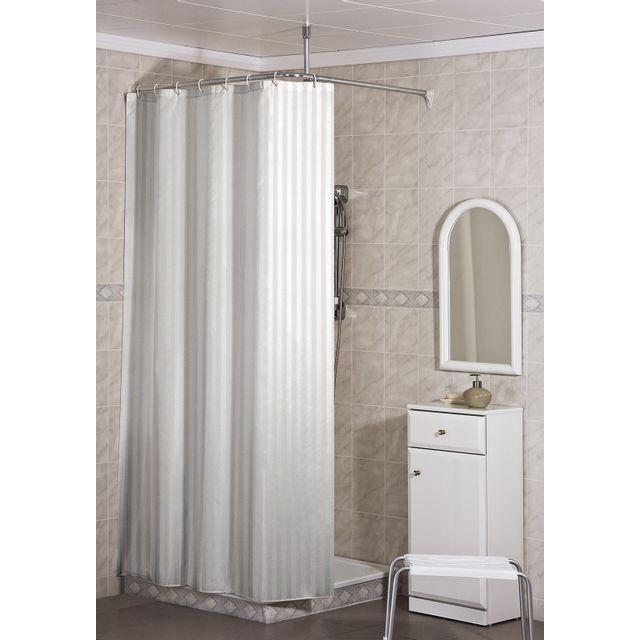 carrefour rideau de douche tissu 120x200 cm blanc ray ho64088 pas cher achat vente. Black Bedroom Furniture Sets. Home Design Ideas