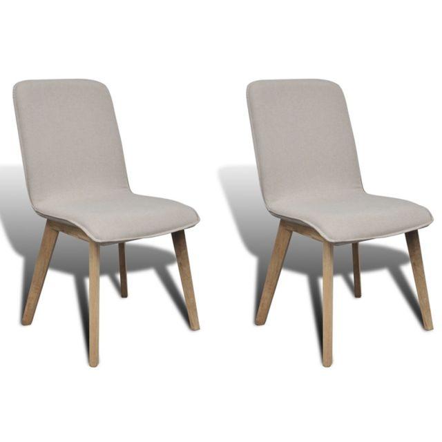 Lot de 2 chaises de salle à manger avec accoudoir en chêne en tissu gris clair 1902063