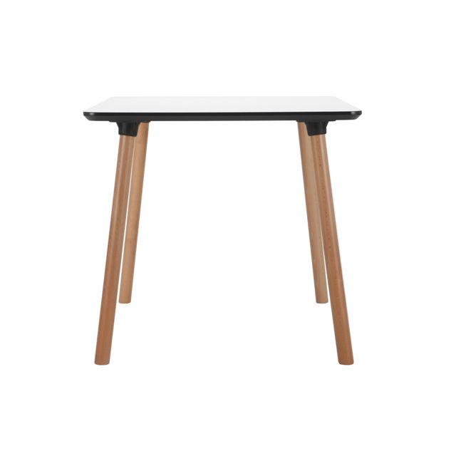 Miliboo Table carrée design blanche avec pied en bois L80 cm Brunch