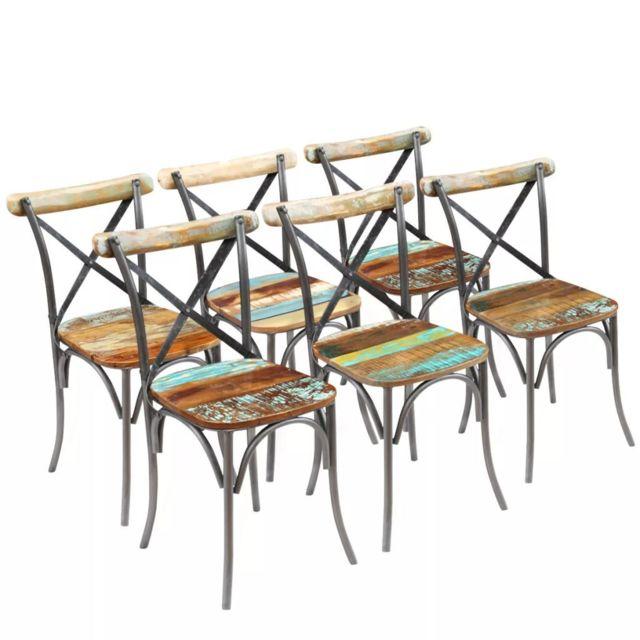 Chaises de salle à manger 6 pièces Bois massif recyclé | Brun