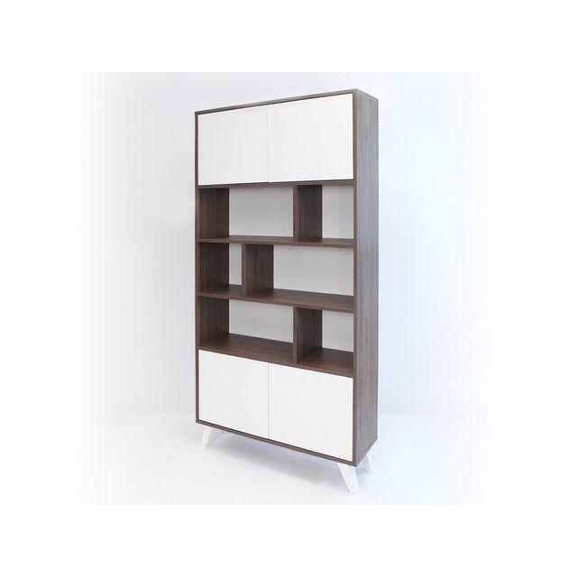 Symbiosis - Bibliothèque 4 portes, 6 niches en bois et pieds biseautés H187cm Prism - Noyer/Blanc 0cm x 0cm x 0cm