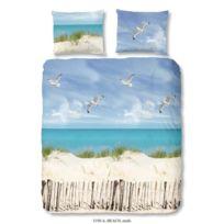 Good Morning - Parure de couette Beach 100% coton - 1 housse de couette 140x200 cm + 1 taie d'oreiller 60x70 cm bleu