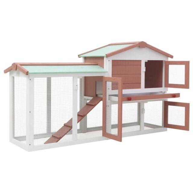 Icaverne Abris et cages pour petits animaux reference Clapier large d'extérieur Marron et blanc 145x45x85 cm Bois