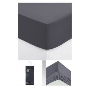 maison futee drap housse 2 personnes 140x190 cm 100 coton gris fonc 140cm x 190cm pas. Black Bedroom Furniture Sets. Home Design Ideas