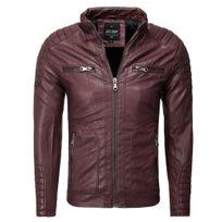 Freeside - Veste cuir coupe ajustée Veste homme 235 rouge