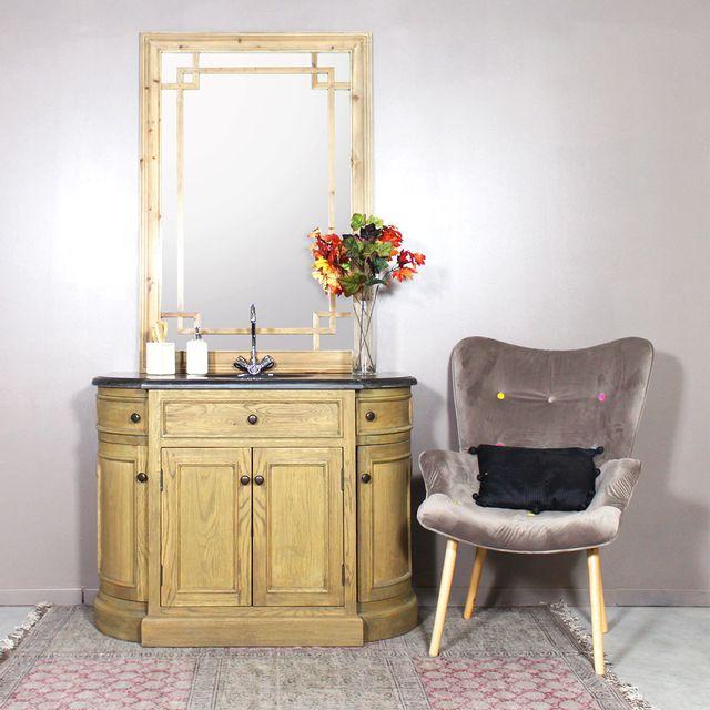 made in meubles meuble salle de bain bois massif 1 vasque 4 portes 2 tiroirs - Meuble Salle De Bain Bois 1 Vasque
