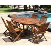Bois Dessus Bois Dessous - Salon de jardin en bois de teck huilé 6/8 personnes - table ovale avec 6 fauteuils