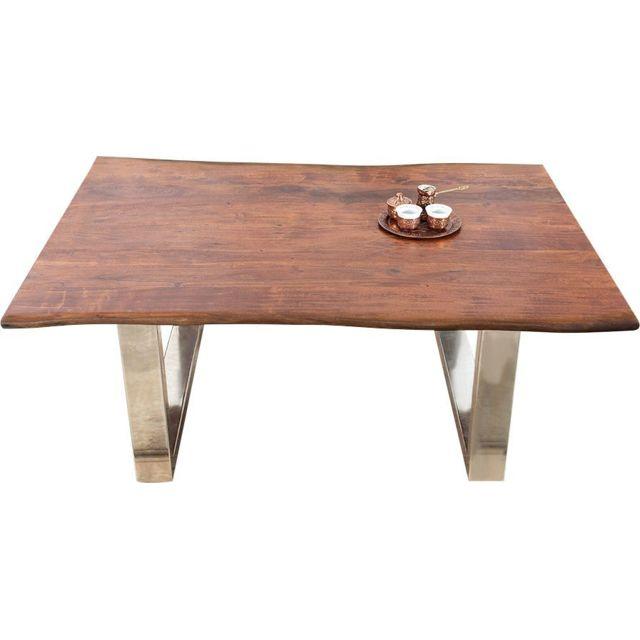 COMFORIUM Table basse 120 cm en bois acacia massif avec piétement en acier coloris brun